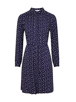 Collection WEEKEND by John Lewis 3/4 Length Sleeve Polka Dot Shirt Dress, Navy/White