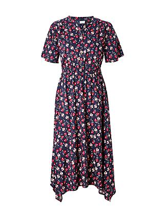 Collection WEEKEND by John Lewis Floral Handkerchief Hem Midi Dress, Navy Base