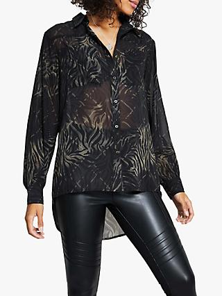Harpenne Camo Animal Print Blouse, Khaki