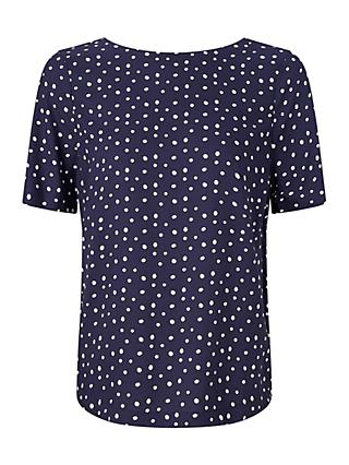 Collection WEEKEND by John Lewis Polka Dot Short Sleeve Blouse, Navy/White