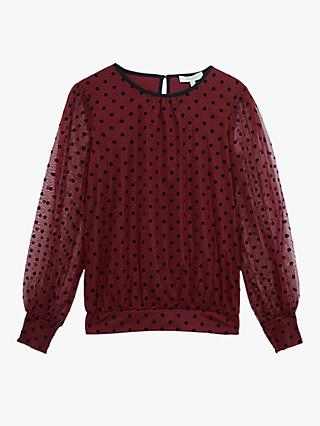 Oasis Flocked Spot Blouse, Burgundy