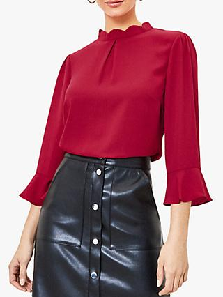 Oasis Scallop Flute Sleeve Blouse, Mid Red