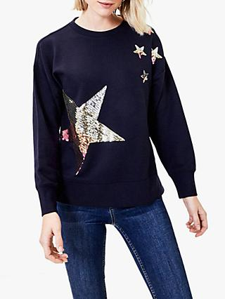 Oasis Sequin Star Sweatshirt, Navy