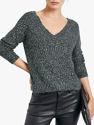 hush Alia Sequin V-Neck Jumper, Charcoal Marl/Silver