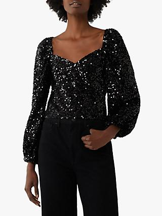 Warehouse Sequin Balloon Sleeve Top, Black