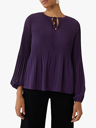 Warehouse Micro Pleat Tie Neck Top, Dark Purple