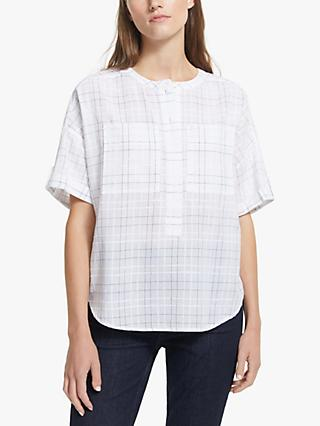 John Lewis & Partners Collarless Check Print Shirt, White/Multi