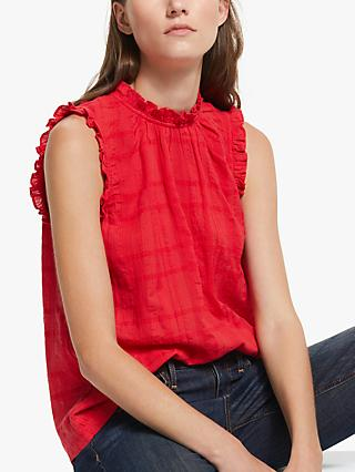 AND/OR Teagan Sleeveless Ruffle Blouse