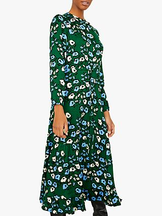 Jigsaw Graphic Poppy Print Dress, Evergreen