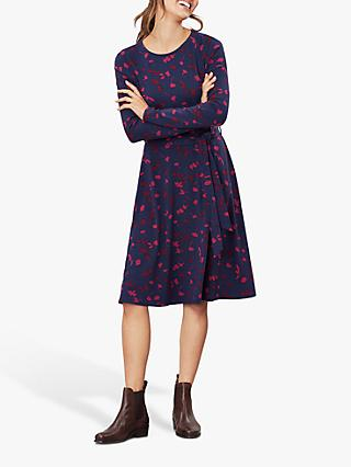 Joules Monica Floral Jersey Long Dress, Navy Berry Floral