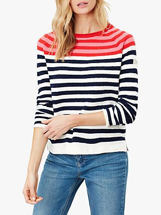 Joules Seaport Roll Jumper, Red Multi Stripe