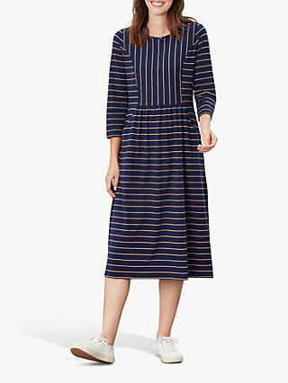 Joules Audrey Striped Jersey Dress, Navy/Tan