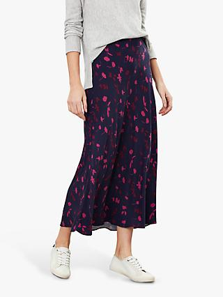 Joules Coletta Berry Floral Bias Cut Woven Skirt, Navy