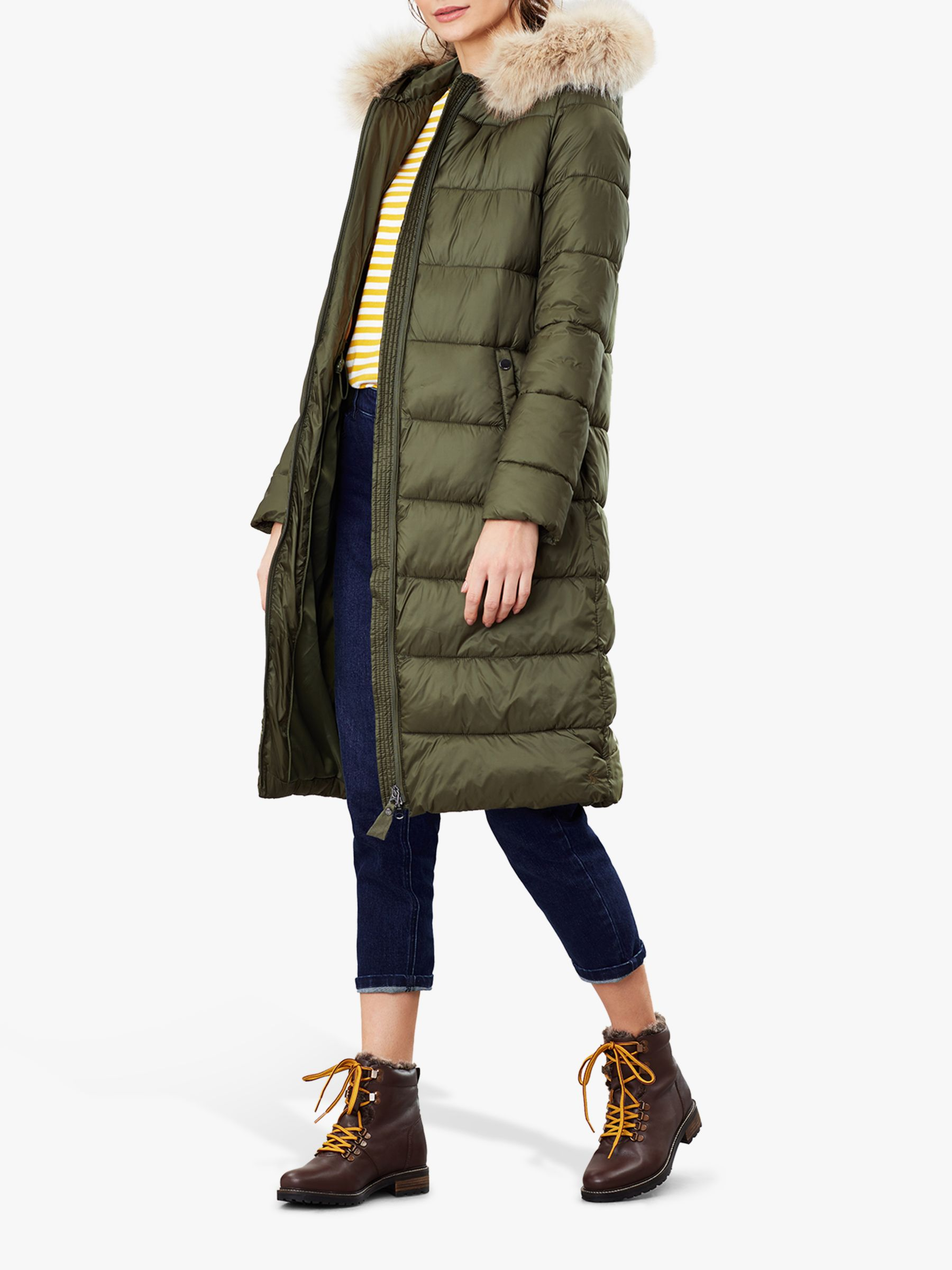 Joules Joules Touchline Padded Coat with Removable Fur Trim