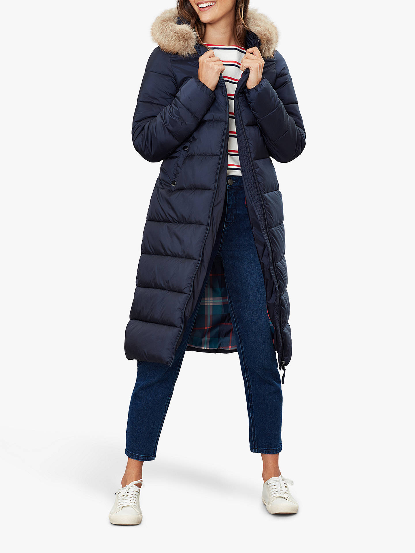 Joules Touchline Padded Coat with Removable Fur Trim at John