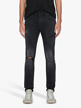 AllSaints Cigarette Damaged Slim Fit Jeans, Washed Black
