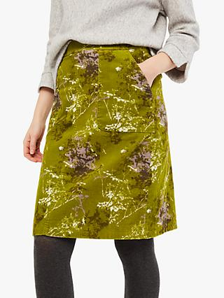 White Stuff Elm Cord Skirt, Ivy Green