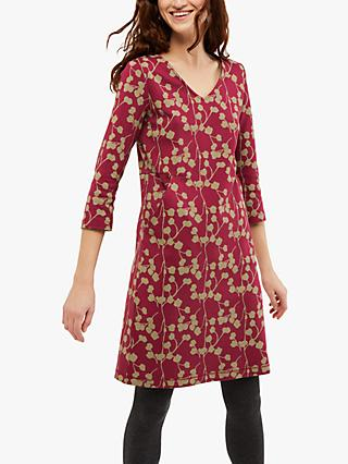 White Stuff Hazel Jersey Dress, Teak Red Print
