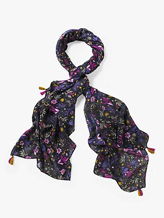 White Stuff Claudia Floral Printed Crepe Scarf, Amethyst/Navy