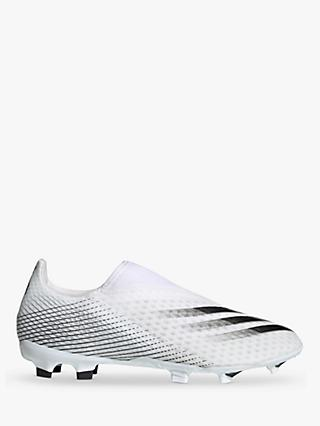 adidas X Ghosted.3 Laceless Firm Ground Men's Football Boots, Cloud White/Core Black/Silver Metallic