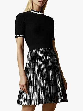 Ted Baker Carmann Short Sleeve Knitted Skater Dress, Black