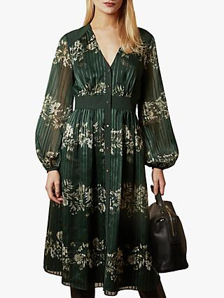 Ted Baker Delyla Meadow Sweep Long Sleeve Midi Dress, Dark Green