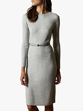 Ted Baker Gjessi Long Sleeve Ribbed Knitted Midi Dress, Grey