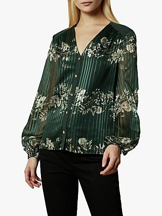 Ted Baker Eveliin Meadow Sweep Pleat Blouse, Dark Green
