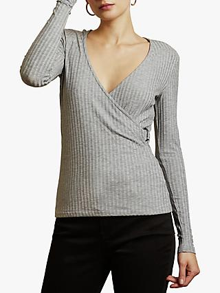 Ted Baker Starlai Ribbed Wrap Neck Blouse, Grey