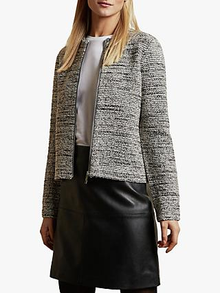 Ted Baker Helyinn Knitted Boucle Zip Jacket, Grey