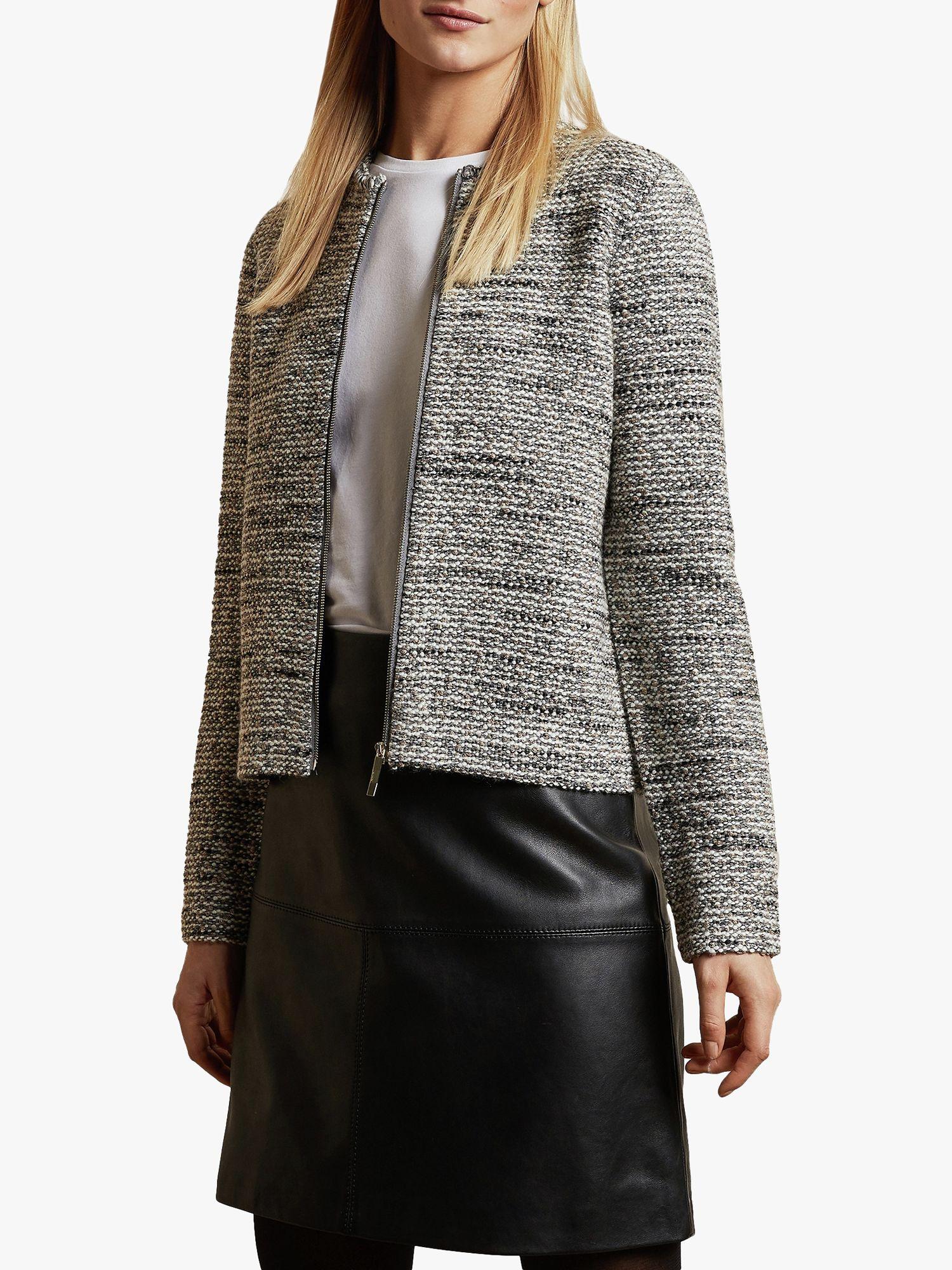 Ted Baker Ted Baker Helyinn Knitted Boucle Zip Jacket, Grey