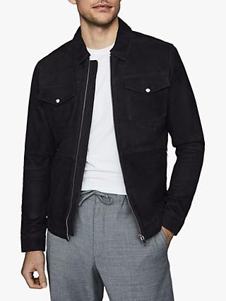Reiss Cash Suede Four Pocket Jacket, Navy