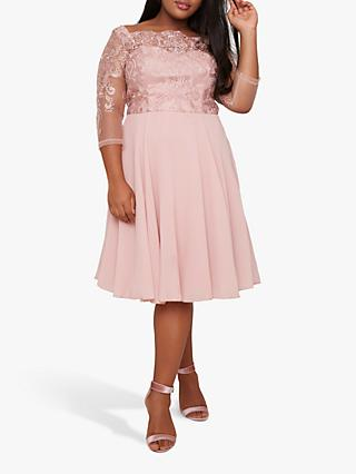 Chi Chi London Curve Melinda Dress, Pink