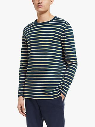 Wax London Duval Stripe Long Sleeve T-Shirt, Navy/Mustard/White