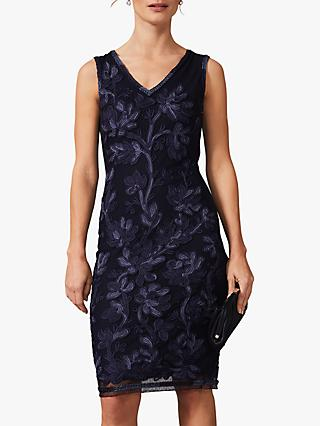 Phase Eight Blanca Tapework Dress, Navy