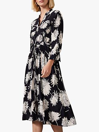 Phase Eight Keiki Floral Shirt Dress, Black