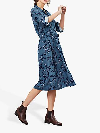 Joules Winslet Floral Button Dress, Teal Blossom