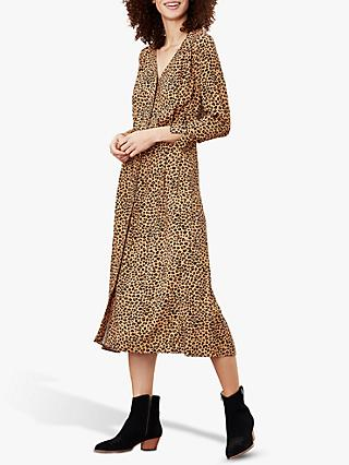 Joules Genevieve V-Neck Leopard Print Dress, Tan