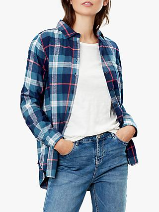 Joules Lorena Longline Brushed Shirt, Navy Teal Check
