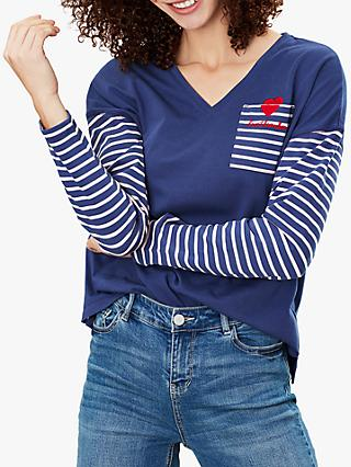 Joules Marina Top, Pink/Blue Stripe