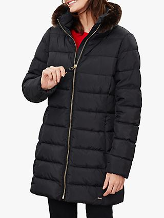 Joules Beaumont Faux Fur Padded Coat, Black