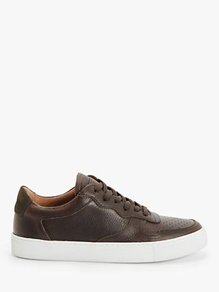 John Lewis & Partners Leather Cupsole Trainers, Brown
