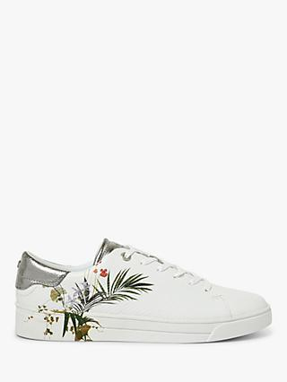 Ted Baker Penil Leather Low Top Floral Printed Trainers, White