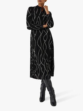 Warehouse Chain Print Midi Dress, Black