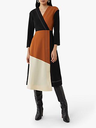 Warehouse Colour Block Wrap Midi Dress, Multi
