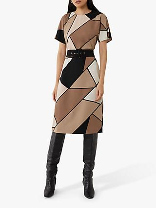 Warehouse Colour Block Soft Dress, Multi