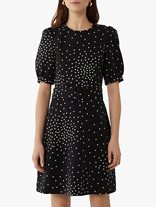 Warehouse Spot Print Belted Mini Dress, Black Pattern
