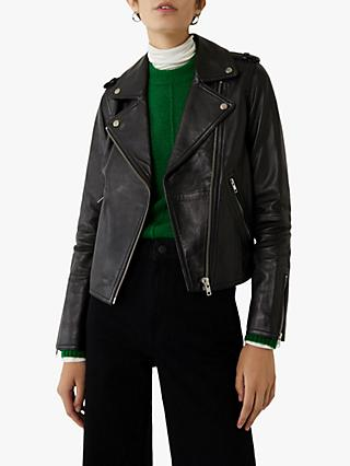 Warehouse Leather Biker Jacket, Black