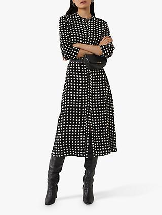 Warehouse Monochrome Shirt Dress, Black Pattern