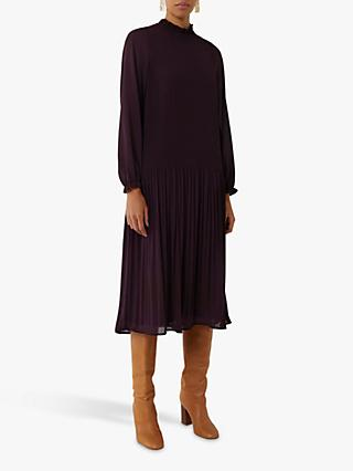 Warehouse Micro Pleat Midi Dress, Berry